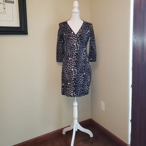 Express Black Leopard Print Wrap Dress